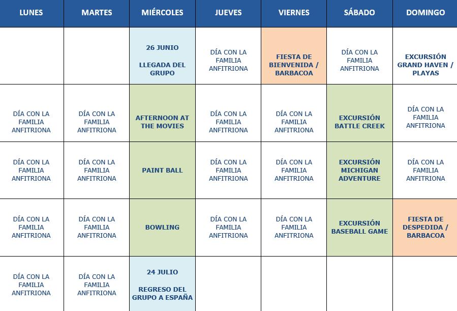 Calendario orientativo Grandes Lagos 4 semanas 2019
