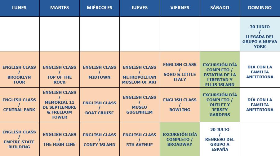 Calendario orientativo curso Nueva York 2019
