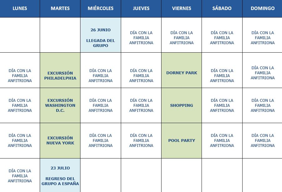Calendario de actividades Pensilvania 2019
