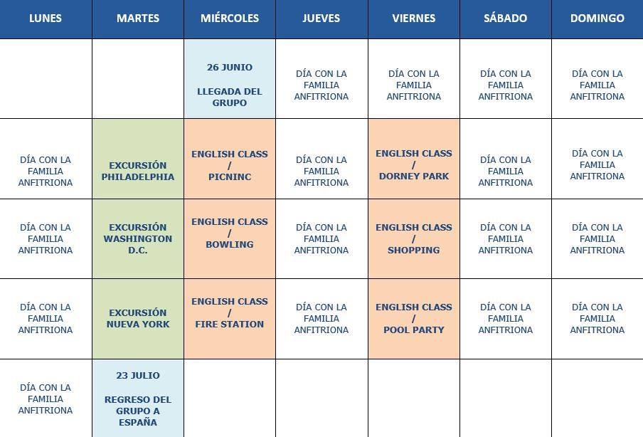 Calendario curso Costa este 2019