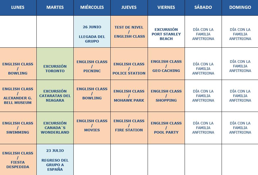 Calendario Orientativo curso de Toronto 2019