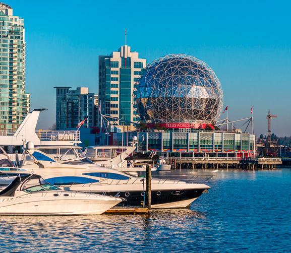 Canadá ocupa actualmente el tercer puesto en los índices de calidad de vida que publica la OCDE. En la foto podemos ver el puerto de Vancouver, ciudad donde se puede estudiar un Año Académico con CLS Idiomas